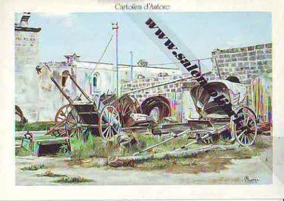 Immagine di CARTOLINA 12 X 17 QUADRO - CARRETTI IN ABBANDONO A LEUCA PICCOLA