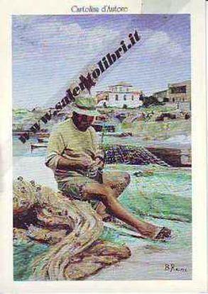 Immagine di CARTOLINA 12 X 17 QUADRO - PESCATORI CHE RIPARANO LA RETE